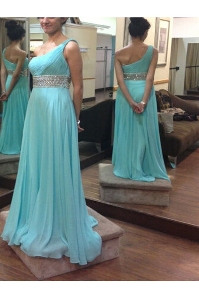 one shoulder prom dress, long prom dress, blue prom dress, charming prom dress, evening gown 2017, BD122