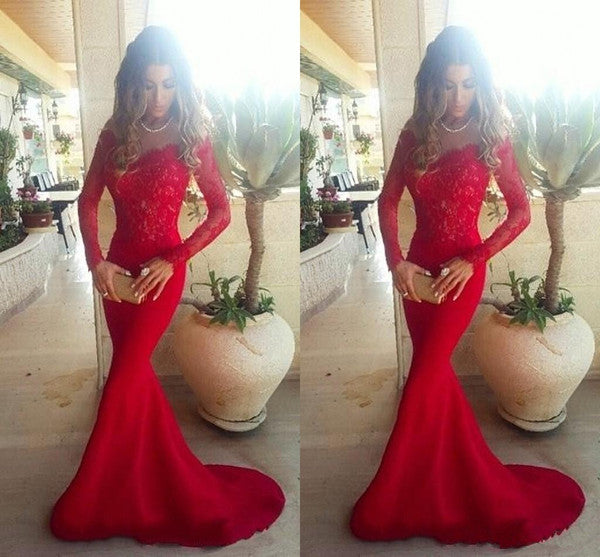 red prom dress, long prom dress, mermaid prom dress, lace prom dress, long sleeves evening dres, BD127