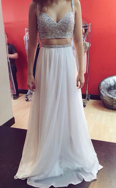 two pieces prom dress, long prom dress, charming prom dress, white prom dress, evening gown 2017, BD118
