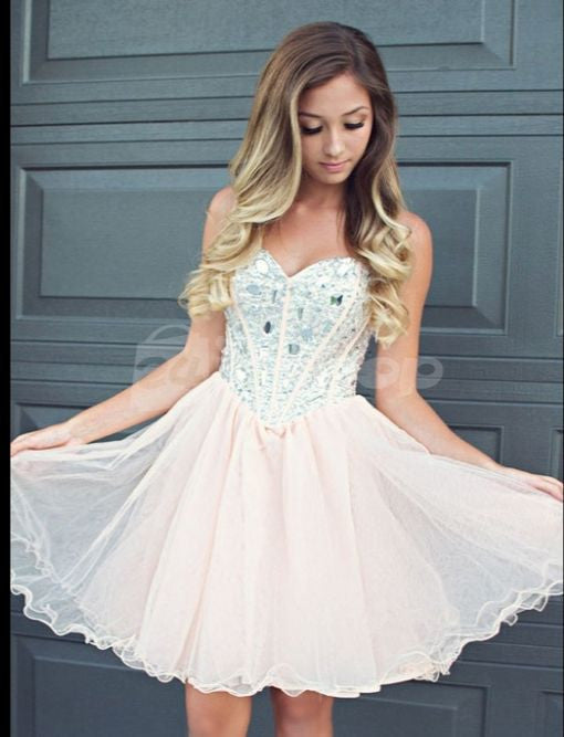 beaded homecoming dress, short homecoming dress, light pink prom dress, cheap homecoming dress, tulle homecoming dress, BD1464