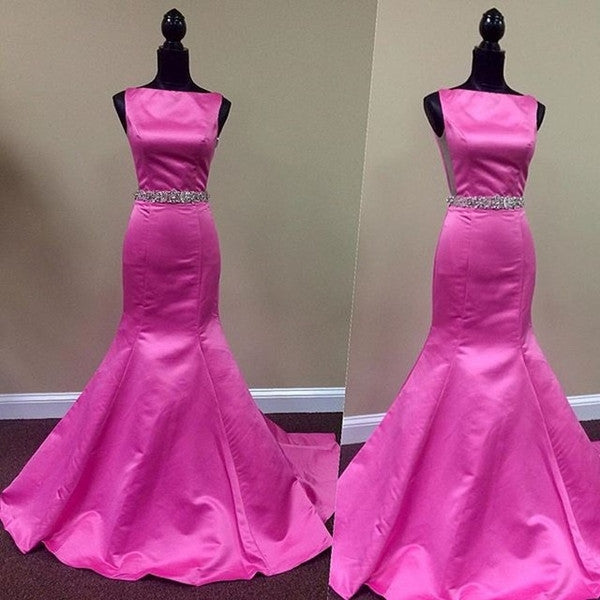 hot pink prom dress, long prom dress, mermaid prom dress, formal prom dress, cheap evening dress 2017, BD129