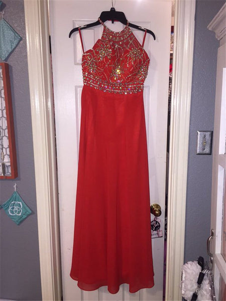 red prom dress, beaded prom dress, chiffon prom dress, long prom dress, charming evening dress, BD100