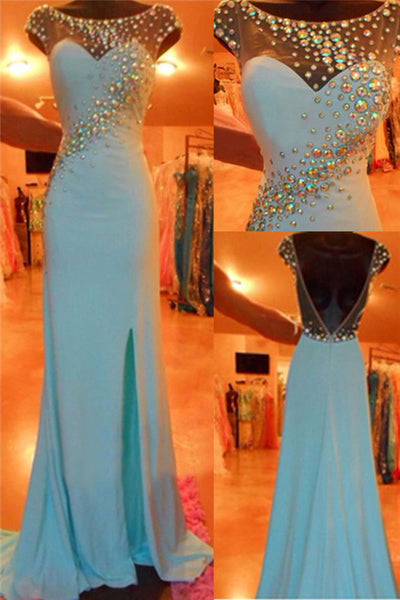 blue prom dress, long prom dress, cap sleeves prom dress, side slit prom dress, evening gown 2017, BD109