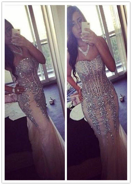 mermaid prom dress, long prom dress, beaded prom gown, charming prom dress, tulle evening dress 2017, BD155