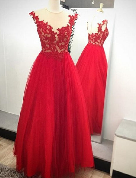 red prom dress, long prom dress, A-line prom dress, formal prom dress, evening gown 2017, BD106
