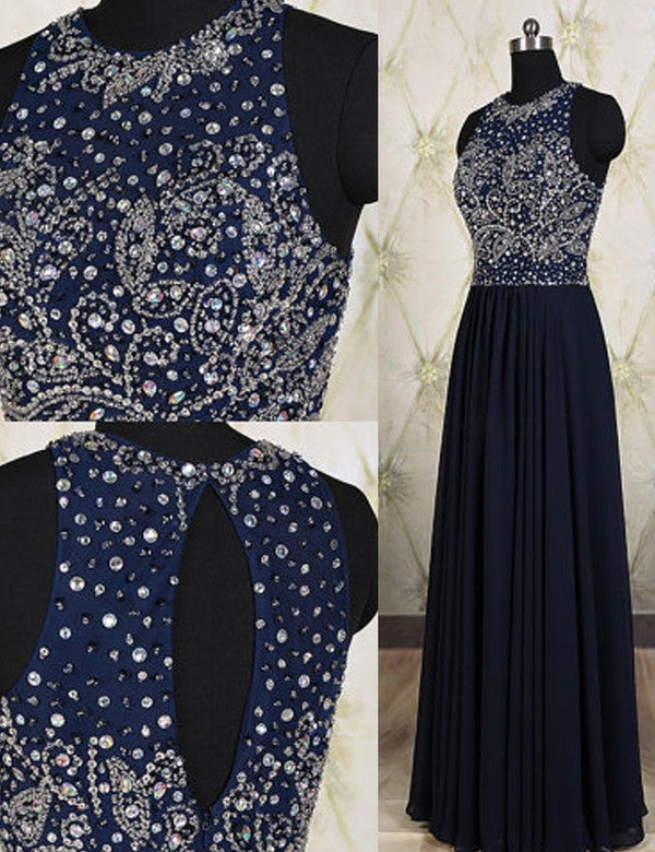 navy prom dress, long prom dress, beaded prom dress, charming prom dress, cheap evening dress 2017, BD140