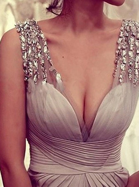 gray prom dress, long prom dress, formal prom dress, v-neck prom dress, evening dress 2017, BD104