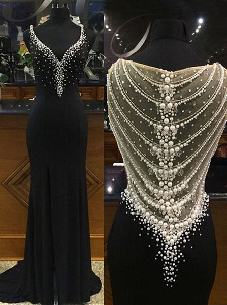 black prom dress, charming prom dress, v-neck prom gown, beaded prom dress, evening gown 2017, BD148