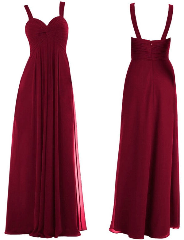 Simple Bridesmaid Dress,Straps Bridesmaid Dress,A-line Bridesmaid Dress,Burgundy Bridesmaid Dress,Long Bridesmaid Dress, PD38