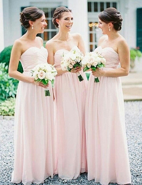 Simple Bridesmaid Dress,Strapless Bridesmaid Dress,A-line Bridesmaid Dress,Pink Bridesmaid Dress,Long Bridesmaid Dress, PD39