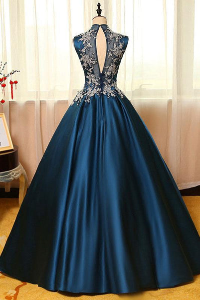 high neck dark teal A-line long prom dress, PD2137