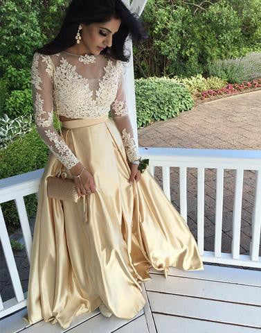 two pieces gold lace long sleeves floor-length prom dress, PD1306