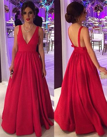 red A-line satin long prom dress, formal v-neck evening gown, PD1296