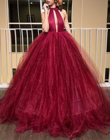 burgundy prom dress, A-line prom dress, long prom dress, open back prom dress, 2017 prom dress, BD12647