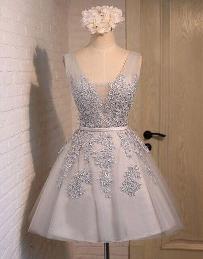 light gray lace appliques short homecoming dress, HD155