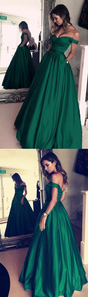 off shoulder A-line green satin simple long prom dress, PD5687