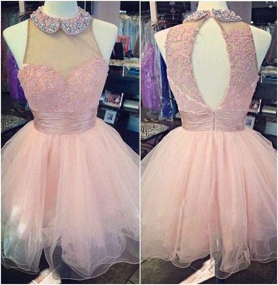 592338f5f4c pink short tulle cute homecoming dress for girls