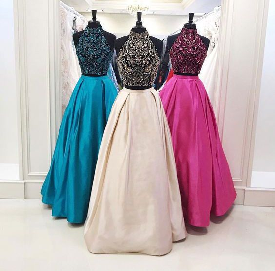 two pieces beaded top A-line long prom dress, PD547