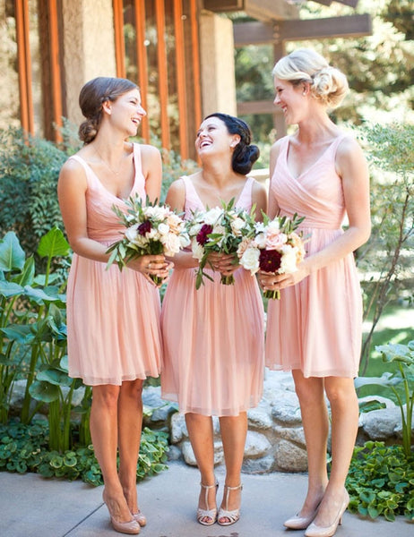 Cute Bridesmaid Dress,V-neck Bridesmaid Dress,Charming Bridesmaid Dress,Short Ruffles Bridesmaid Dress,Classical Bridesmaid Dress, PD45