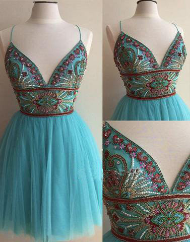 blue homecoming dress, short homecoming dress, beaded prom dress, cheap homecoming dress, straps homecoming dress, BD39755