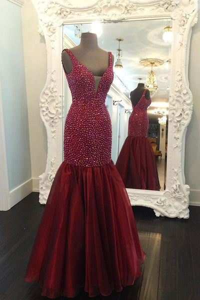 two straps beaded mermaid burgundy long prom dress, PD5488