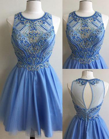 blue homecoming dress, short prom dress, beaded homecoming dress, cheap homecoming dress, BD39004