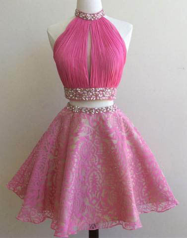 hot pink short two pieces A-line halter homecoming dress, short prom dress for girls, BD13674