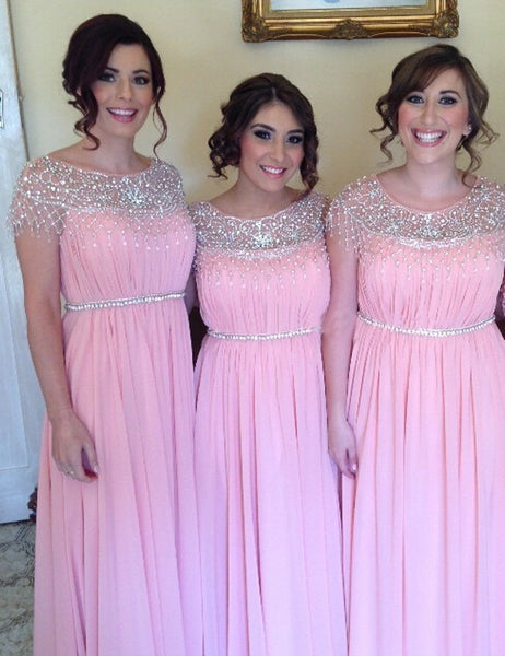 Pink Bridesmaid Dress, Floor-Length Bridesmaid Dress,Beading Bridesmaid Dress,Chiffon Bridesmaid Dress, Custom Bridesmaid Dress, PD04