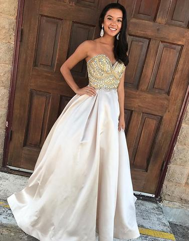 2017 formal A-line satin sweetheart beaded long prom dress, PD87416