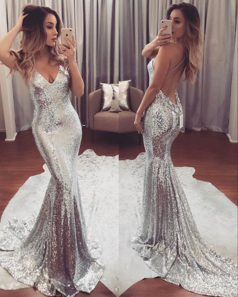 sliver sequin mermaid formal sparkle long prom dress, PD7545