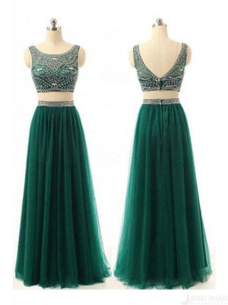 charming two pieces beaded green tulle long cheap prom dress, PD445