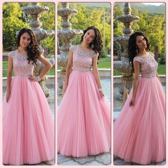 A-line pink beaded tulle cap sleeves princess long prom dress, PD28998