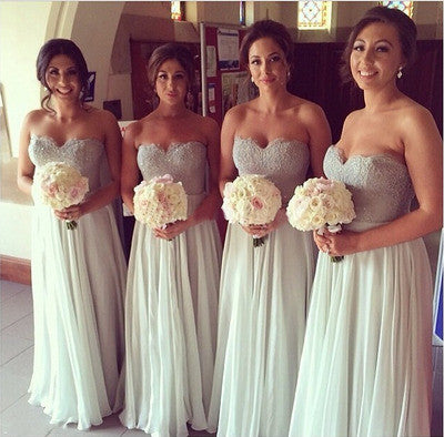 gray Bridesmaid Dress,long Bridesmaid Dress,cheap sleeves Bridesmaid Dress,sweetheart Bridesmaid dress ,PD506