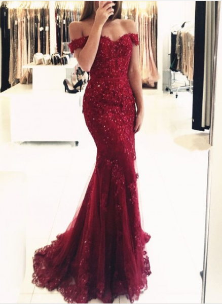 off shoulder elegant mermaid burgundy lace long prom dress, PD0207