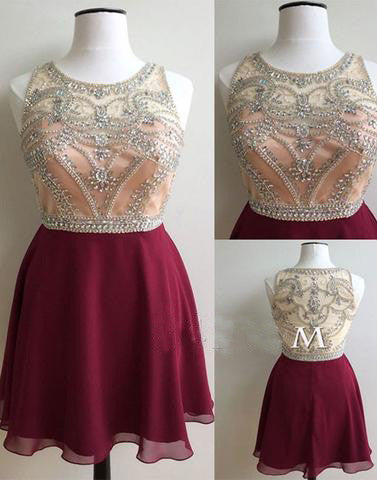 burgundy homecoming dress, short homecoming dress, beaded prom dress, cheap homecoming dress, 2017 homecoming dress, BD39753