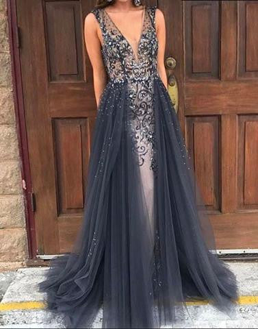 dark gray long v-neck 2017 prom dress, unique prom gown, PD1309