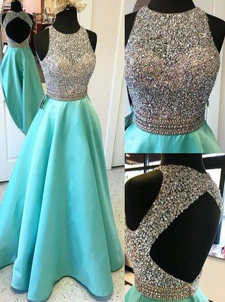 A-line blue satin beaded long 2018 prom dress, PD5485