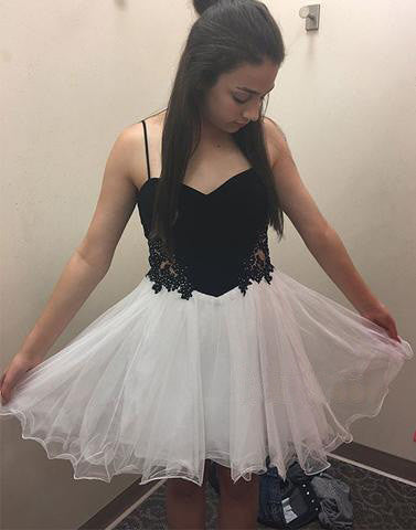 cheap homecoming dress, short homecoming dress, white and black prom dress, cheap homecoming dress, junior homecoming dress, BD39757