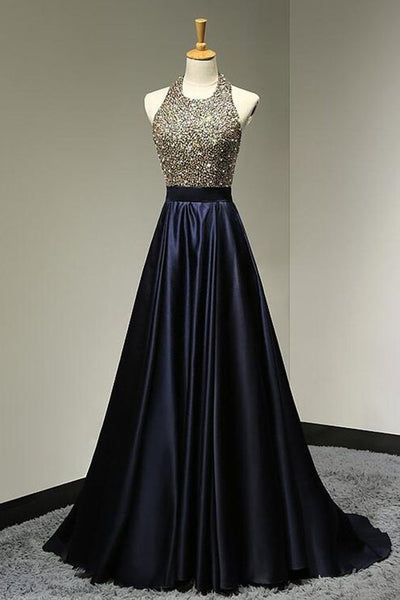 navy blue prom dress, long prom dress, A-line prom dress, beaded evening dress, halter prom dress, BD375