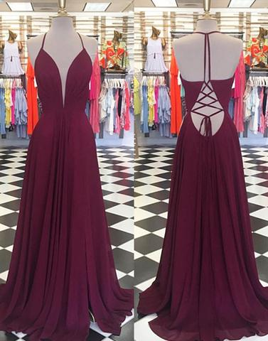 burgundy chiffon halter lace up open back long prom dress, PD4490