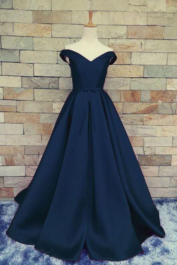 navy blue prom dress, long prom dress, off shoulder prom dress, A-line evening dress, cheap prom dress, BD380
