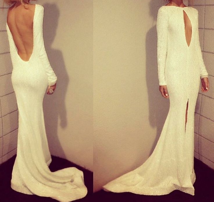 white long sleeves slit low back sparkle long prom dress, PD56599