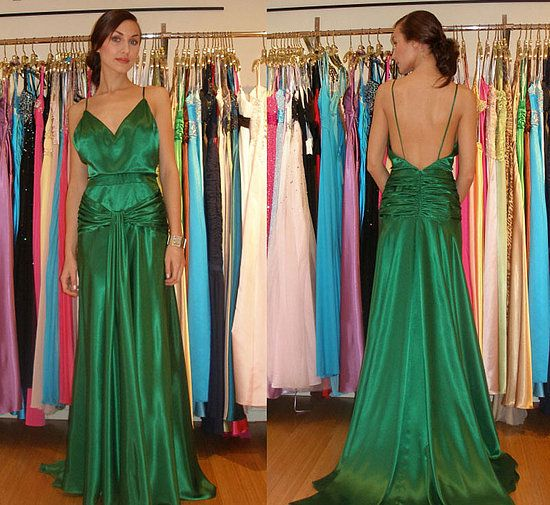 2017 spaghetti straps backless formal green long prom dress, PD8858