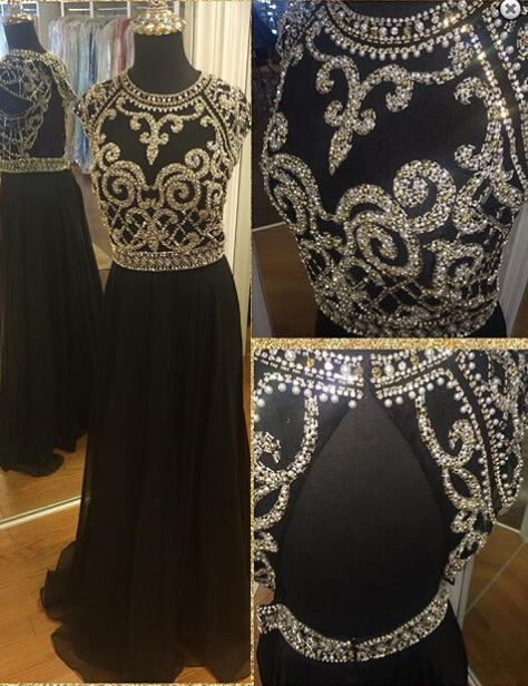 black prom dress, long prom Dress, beaded evening dress, open back prom dress, 2017 evening dress, BD392