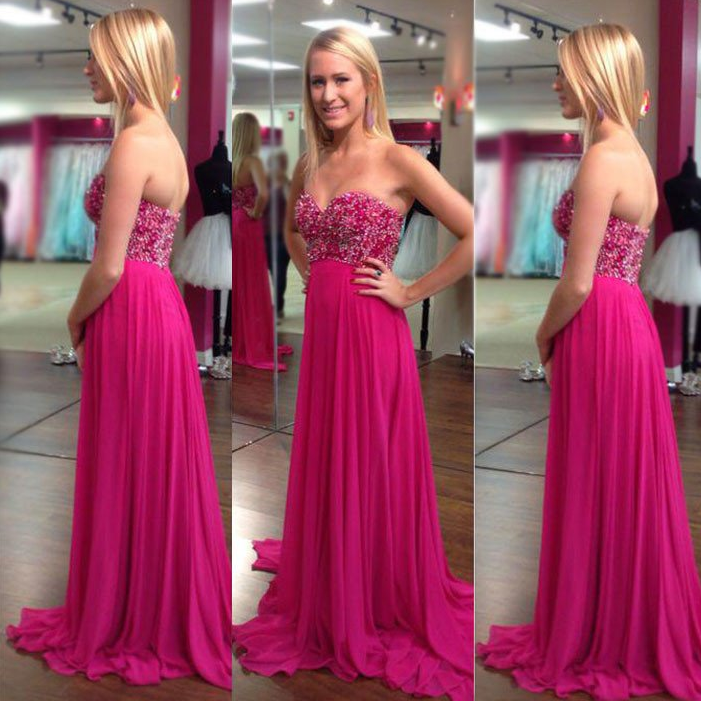 hot pink sweetheart beaded chiffon cheap long prom dress, PD9778