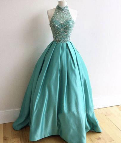 blue A-line beaded top halter long charming prom dress, PD1300