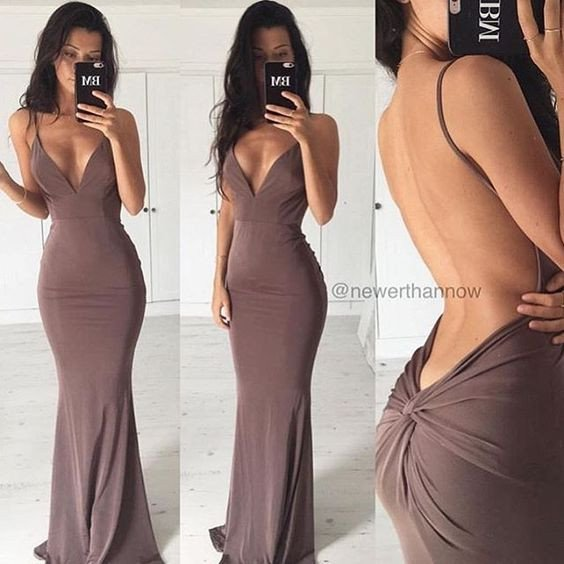 spaghetti straps sexy open back mermaid brown long prom dress, PD0508