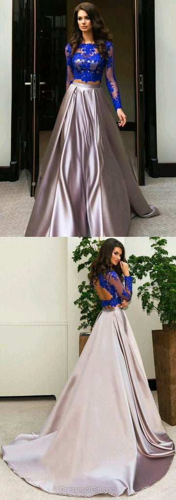 two pieces blue lace long sleeves prom dress, PD5644