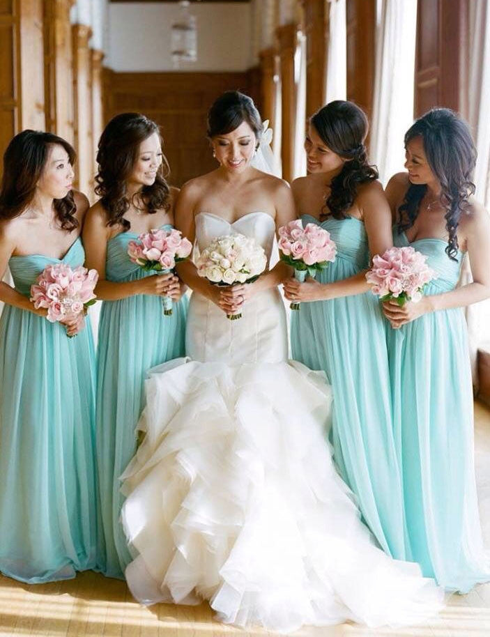 Fashion Bridesmaid Dress,Simple Bridesmaid Dress,Strapless Bridesmaid Dress,A-line Bridesmaid Dress,Cyan Bridesmaid Dress, PD61