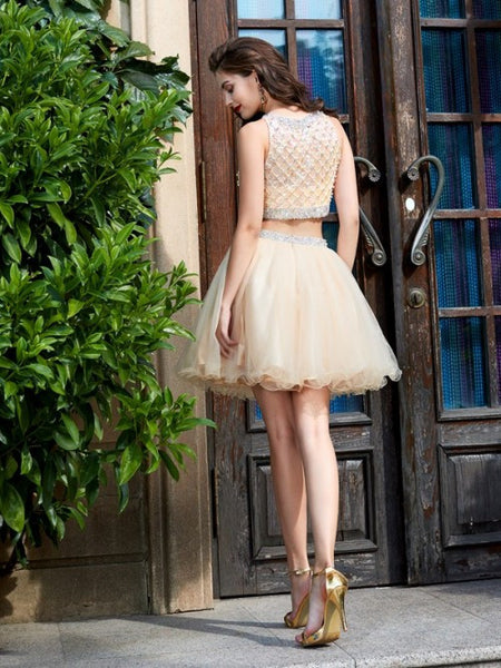 two pieces short beaded cute A-line junior homecoming dress, BD3789